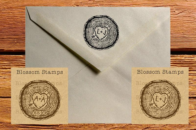 Wedding - Rustic Custom Wedding Save the Date Rubber Stamp //  Tree Rings // Tree Stump with Initials and Heart- Handmade by Blossom Stamps