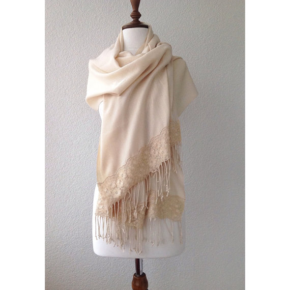 Wedding - cream wedding shawl, bridesmaid gift, brides cover up, bridal scarf