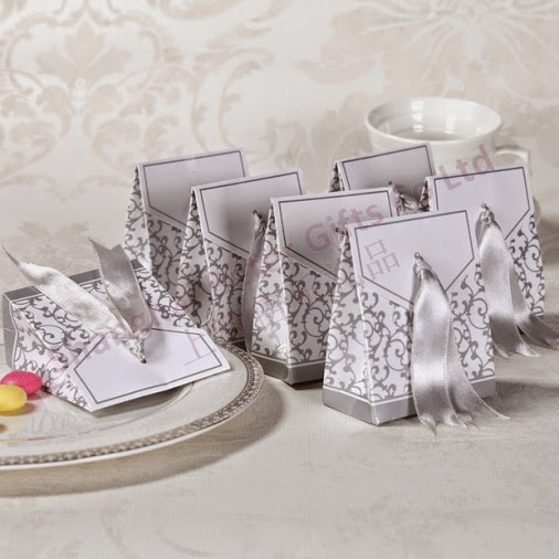 Свадьба - Beter Gifts® 20th Wedding Anniverary Silver Ribbon Favor Box BETER-TH017