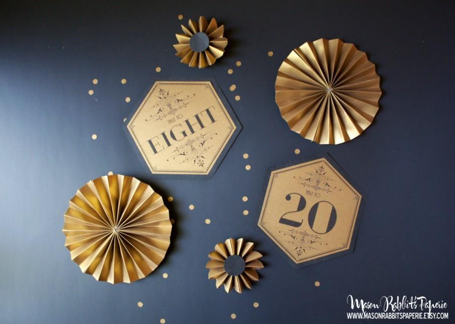 Hexagon Art Deco Wedding Table Numbers Sets Gold Black