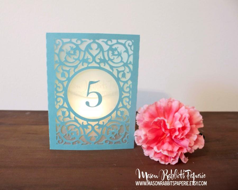 Свадьба - Merci Wedding Table Number Luminaries. Table Numbers, Table Decor, Luminaries, Paper Luminaries, Laser Cut Table Numbers