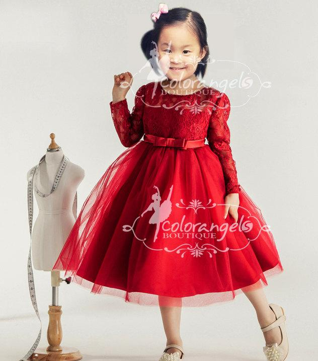 Mariage - Red Flower girl dress Burgundy Christmas lace dress baby toddler birthday wedding dress 1t- 10t