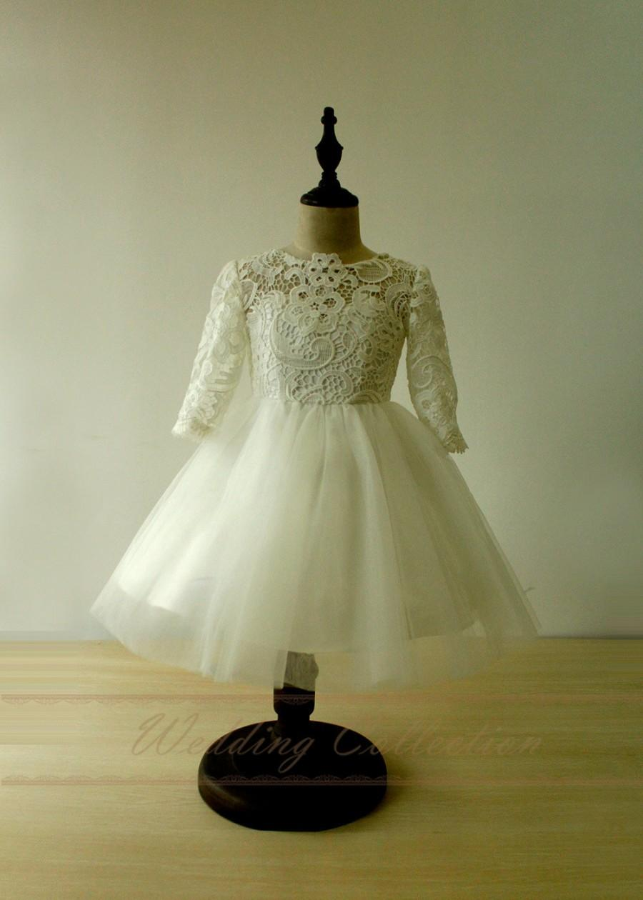 Wedding - Ivory Flower Girl Dress Lace Tulle Knee Length with Long Sleeves