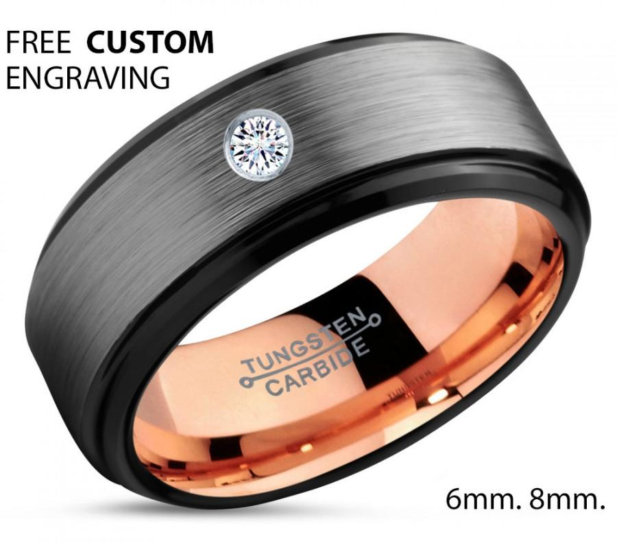Brushed Silver Black Tungsten Ring, 18k Rose Gold Black Band, Black Wedding  Bands, White Diamond Mens Wedding Band, Tungsten Carbide