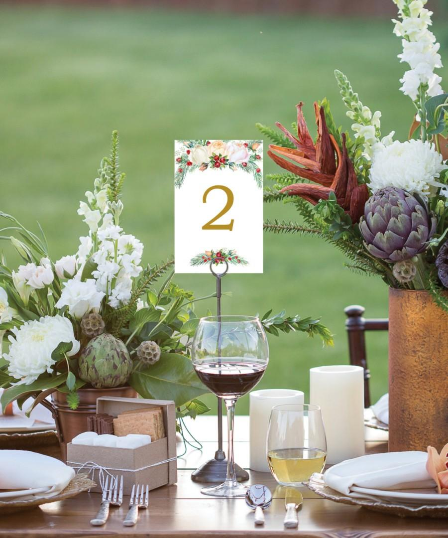 Table Numbers Wedding 4x6 Signs 1 40 Reserved Sign Head Instant Winter Berry