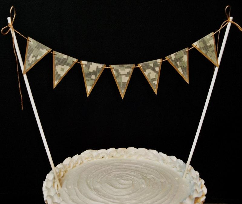 Mariage - Camoflage Cake Topper Banner, Army Camo, Armed Services, Military, Enlistment, Promotion, Retirement, Birthday