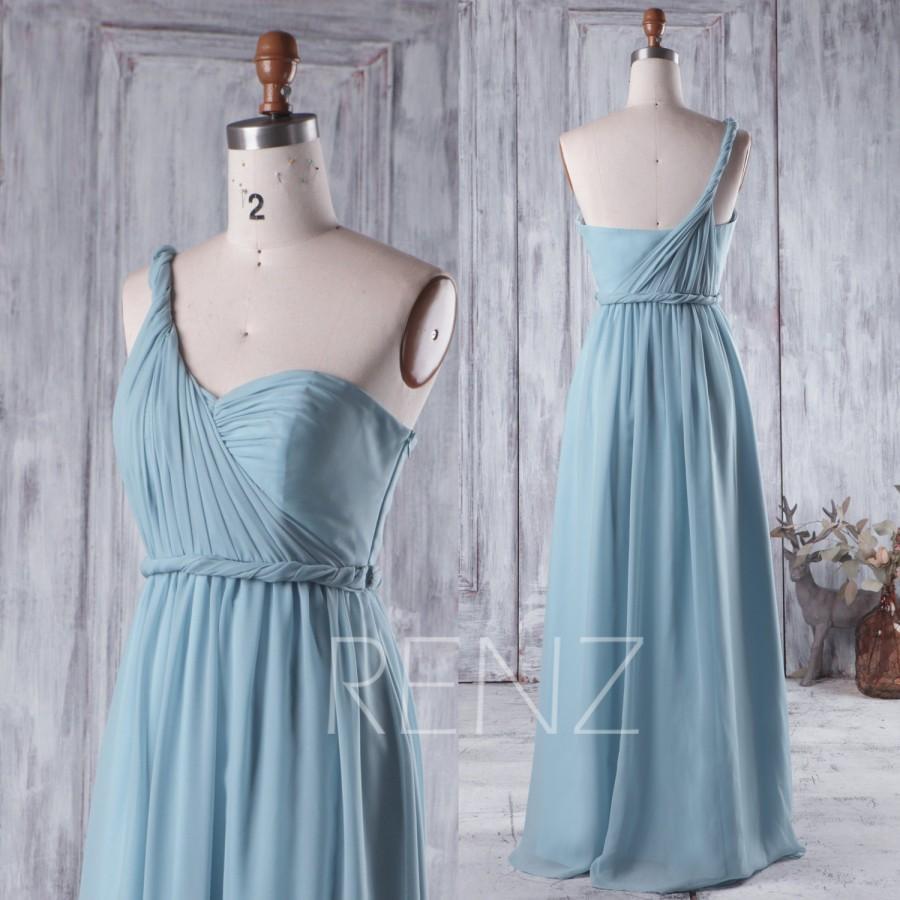 Wedding - 2016 Dusty Blue Bridesmaid Dress, One Shoulder Wedding Dress, Asymmetric Prom Dress, Long Chiffon Party Dress Floor Length (H219)