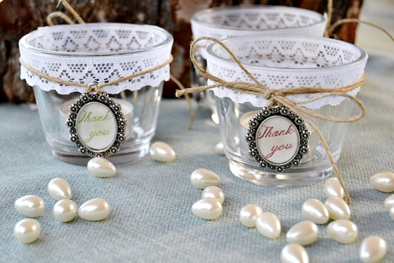 4 Wedding Glass Candle Holders Lace Personalized Cameot 4stic