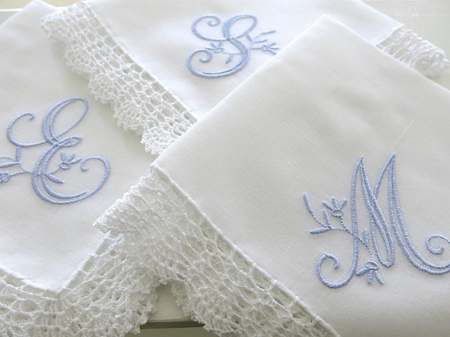 Mariage - Peony Design 1-Initial Monogrammed Handkerchief