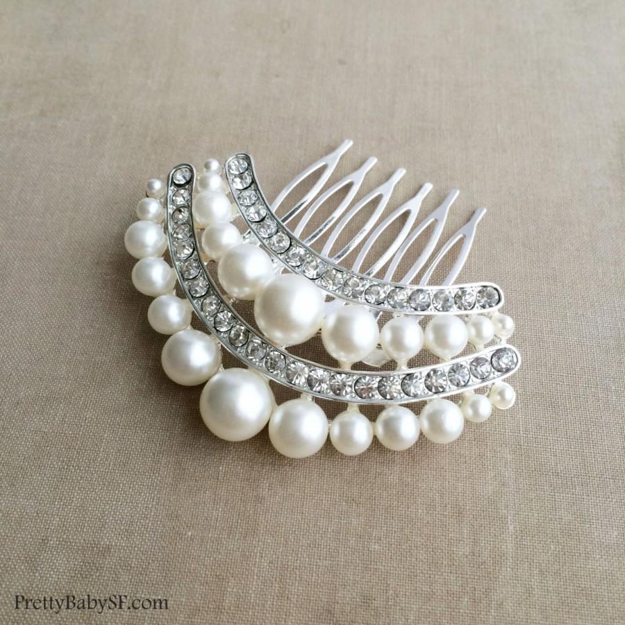Hochzeit - Bridal Pearl Comb, SALE, Pearl comb, Bridal Pearl Hair Comb, Art Deco comb, art deco headpiece bridal hair accessories wedding CRESCENT
