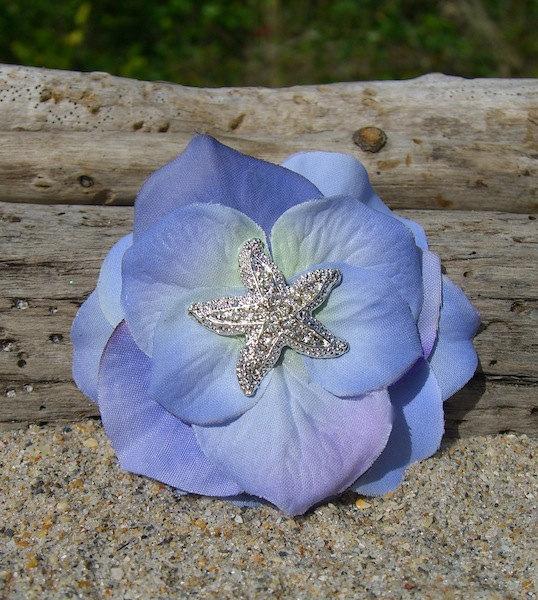 زفاف - Starfish Hair Clip,Hydrangea Flower,Beach Weddings, Mermaid Hair Clip, Starfish Hair Accessories, Bridesmaid Hair, Destination Wedding