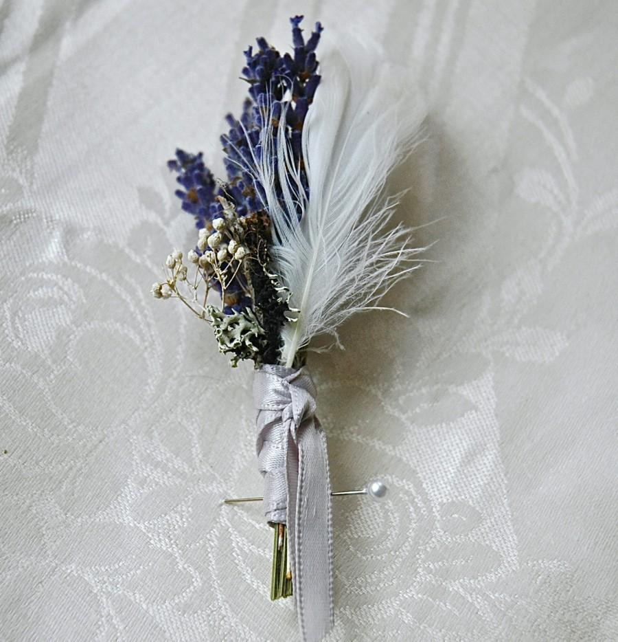 Hochzeit - Woodland White Winter Wedding Dried Lavender, White Feathers,  Lichens and Babies Breath wrapped in Dove Gray Satin Ribbon