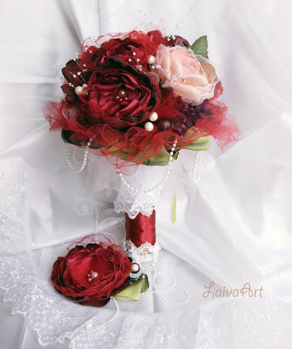 Wedding Fabric Flower Bouquet Burgundy Wedding Bridal Brooch Bouquet ...