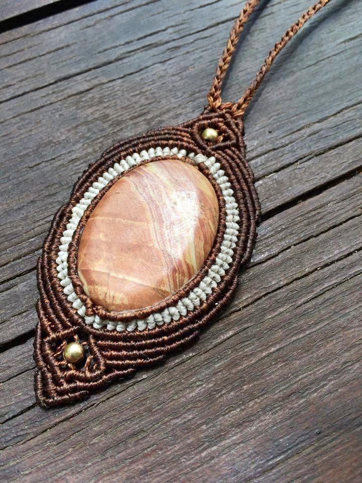 Handmade necklace macrame micromacrame knotted jewelries gemstone necklace jasper adjustable tribal boho bohemian necklace fiber jewelries