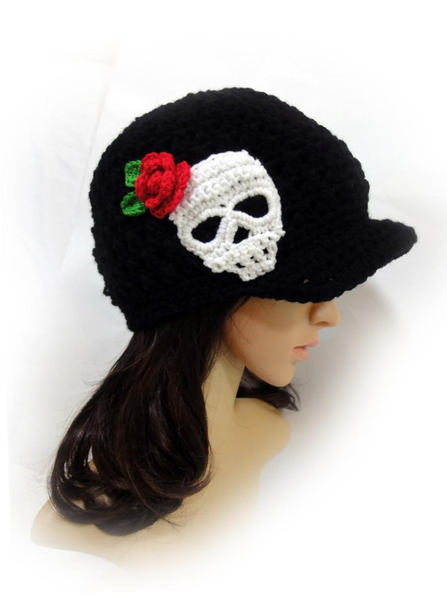 Hochzeit - Skull and Rose Crochet Newsboy Hat. Sugar Skull Beanie. Black or 43 colors. Teens and Women's Hat. Fashion Warm Autumn Fall Winter Accessory
