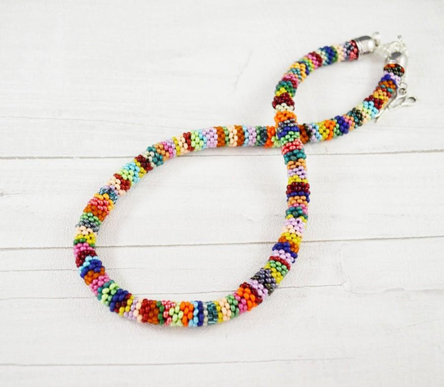 Hochzeit - colorful necklace beading necklace Colored Necklace Statement Necklace Everyday Necklace Layering Necklace Boho Crochet necklace christmas