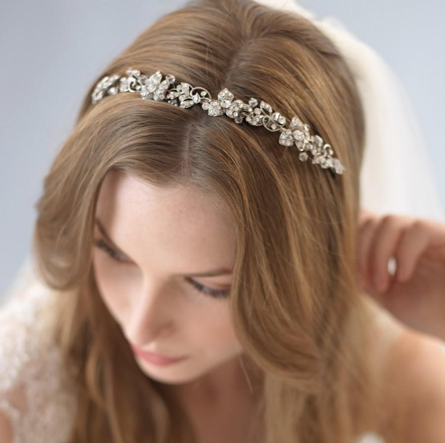 Свадьба - Floral Bridal Headband, Antique Bridal Headpiece, Vintage Wedding Headband, Crystal Rhinestone Headband, Crystal Wedding Headband ~TI-3169