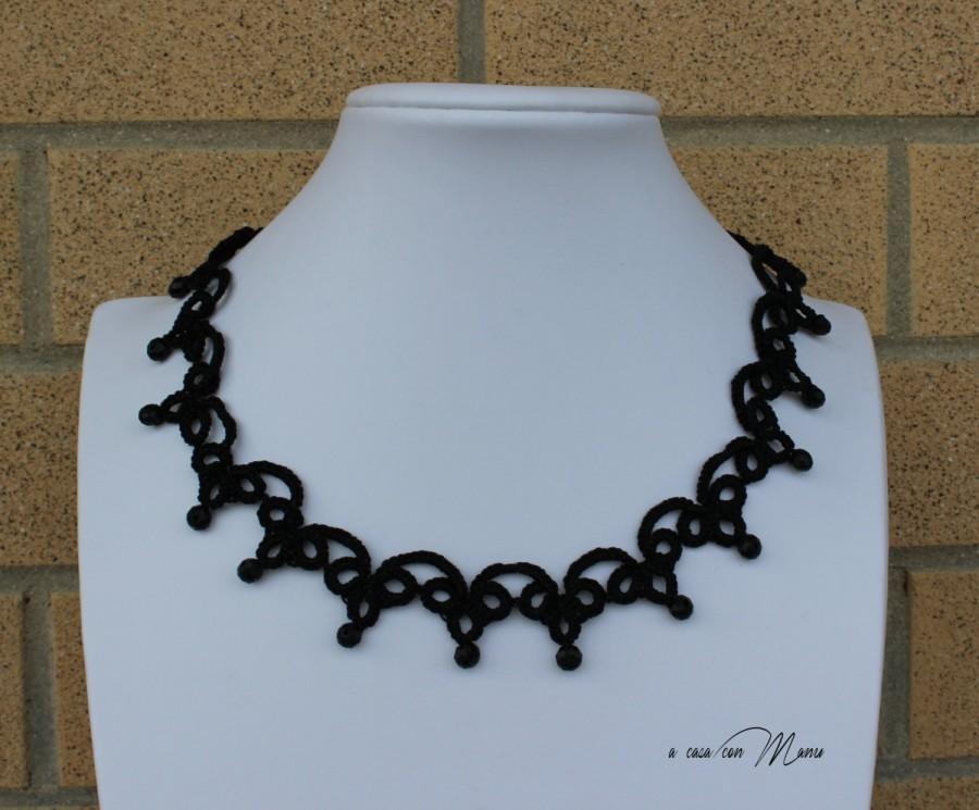 Wedding - Collana nera pizzo chiacchierino, Black lace necklace tatting, frivolite bijoux, tatting necklace, per lei, regalo di Natale, made in Italy