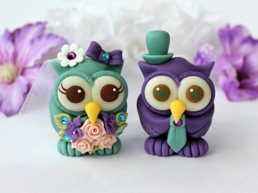 Mariage - Custom wedding owl cake topper, love bird cake topper, bride and groom cake topper, cute cake topper, purple teal wedding