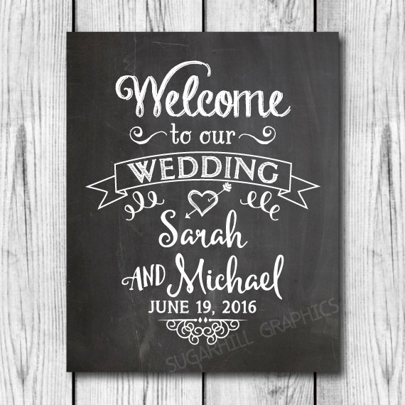 Mariage - Chalkboard Welcome to our Wedding Sign, Printable Chalkboard Welcome Wedding Sign, Wedding Decor, Wedding Signage