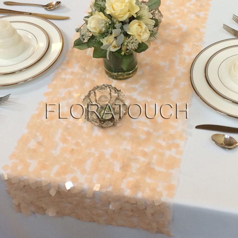 Hochzeit - Peach Dazzle Square Sequin Table Runner Wedding Table Runner