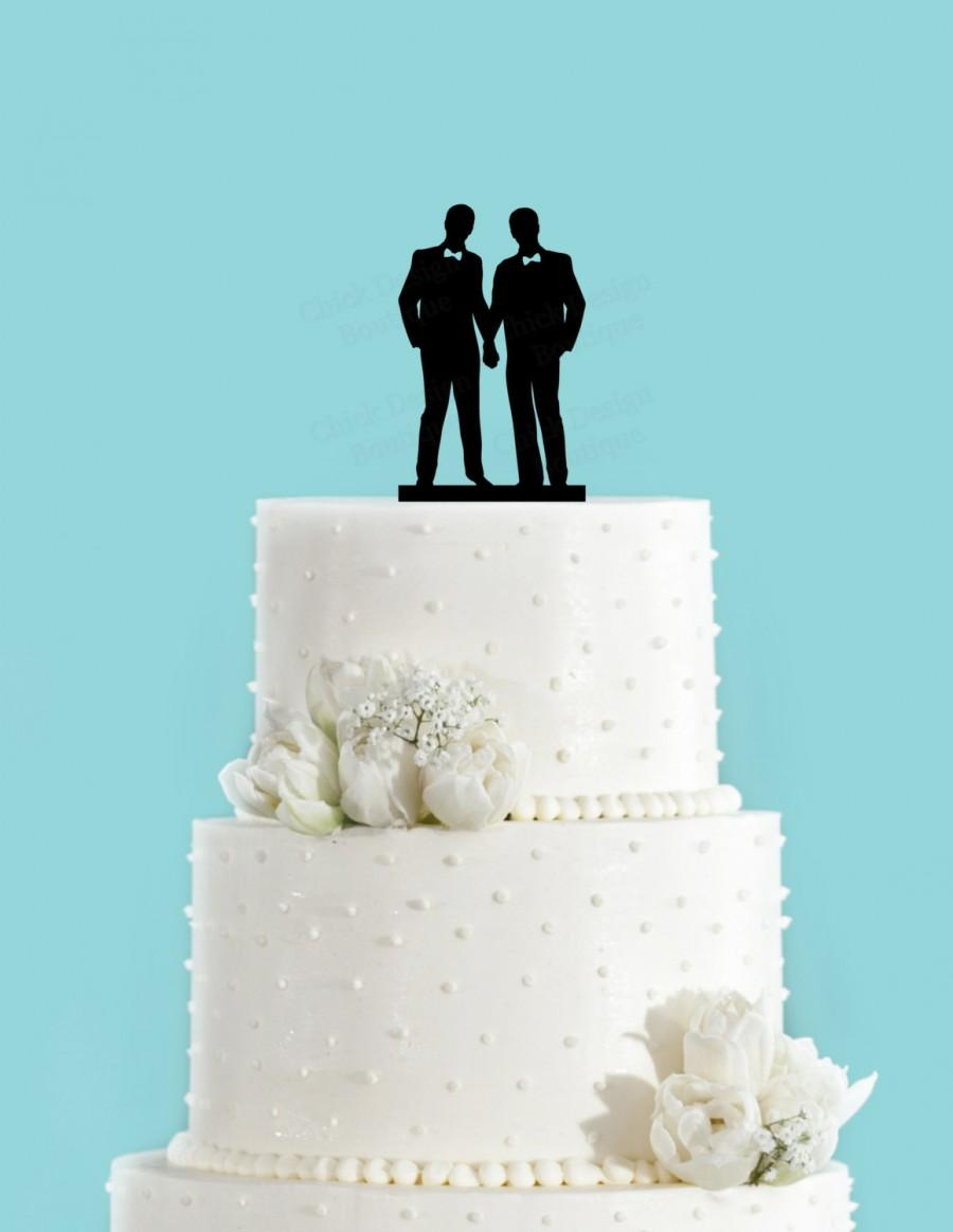 Mariage - Groom and Groom Couple with Bowties Gay Acrylic Wedding Cake Topper, Same Sex Marriage Cake Topper