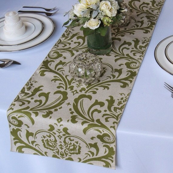 Mariage - Traditions Olive on Taupe Damask Wedding Table Runner