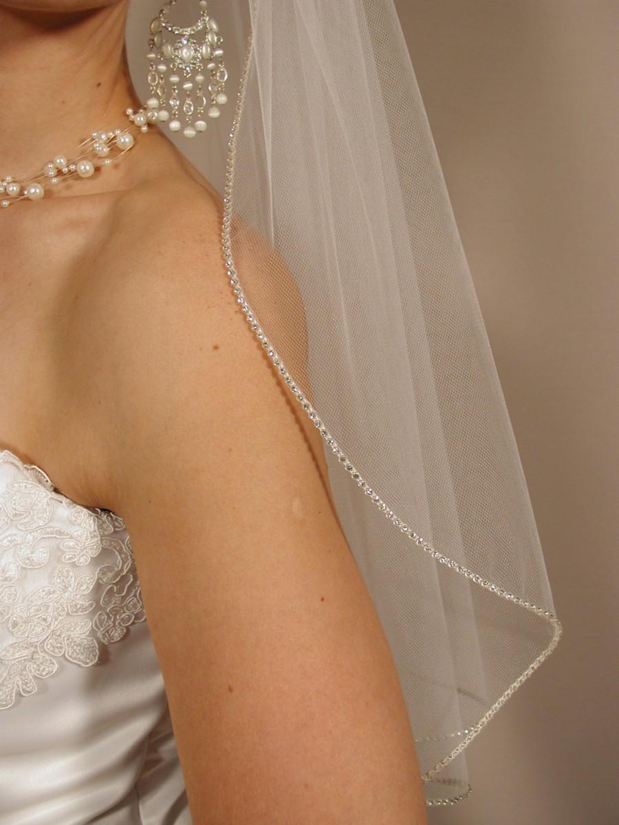 """Mariage - Wedding veil with swaroyski crystal edging. Bridal veil 25"""" length with rhinestones edging."""