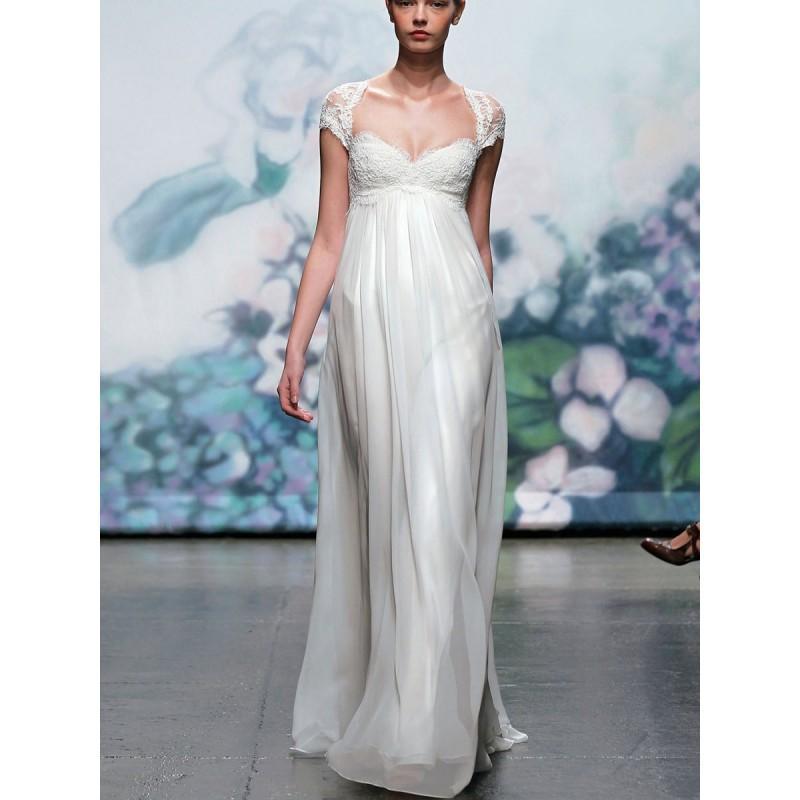 Wedding - Elegante Gestickte Spitze Cap Sleeve fallen Brautkleid 2012 mit Schlüsselloch Rücken - Festliche Kleider