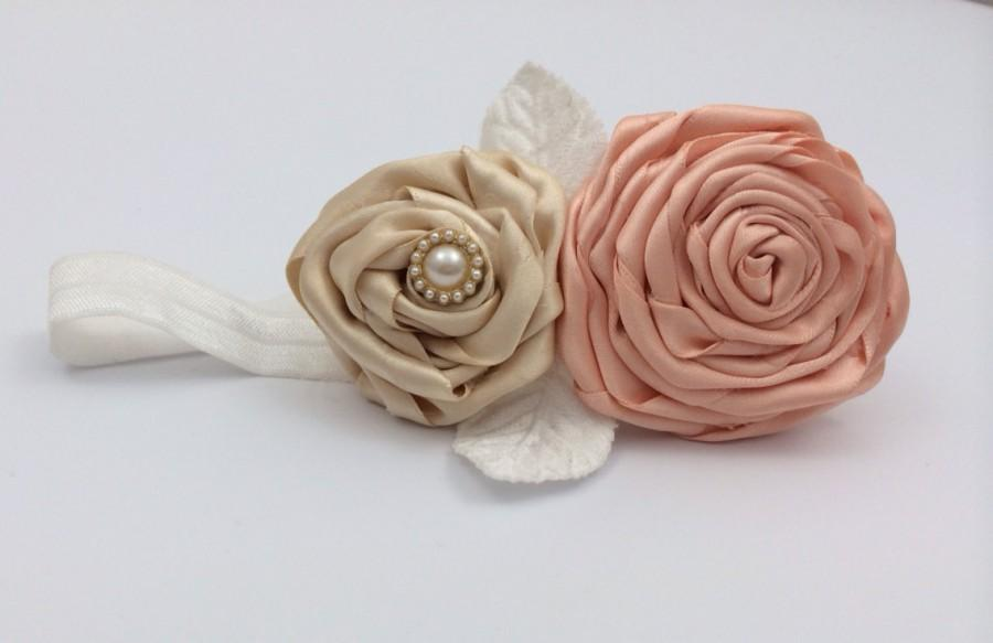 Wedding - flower girl head band with satin handmade flowers in peach and cream with pearl embellishment and white flowers