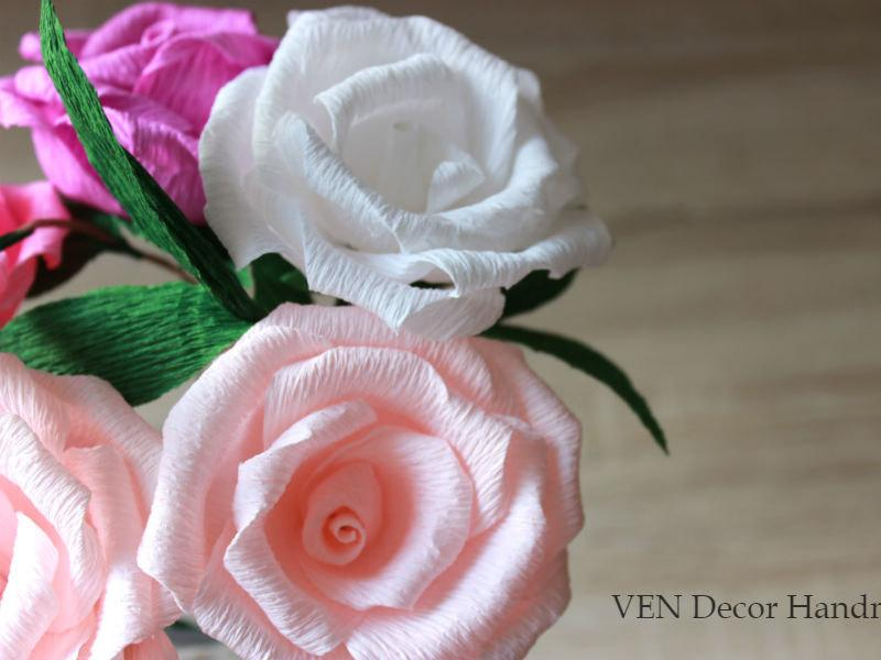 6 paper roses with stems rustic wedding centerpiece wedding table decor bridal shower decor paper flower decorations party decorations