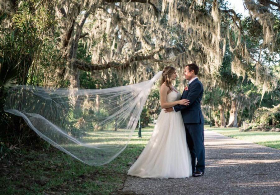 زفاف - Bridal veil, chapel veil, cathedral veil, floor length veil, waltz veil, simple veil, elegant veil, classic veil, plain veil, sheer veil