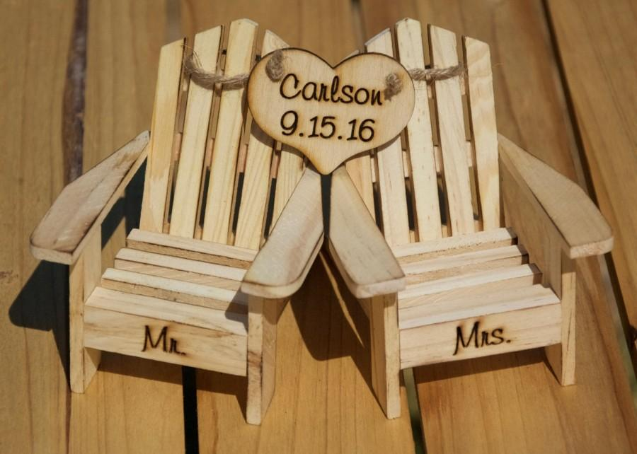 Hochzeit - Cake Topper Adirondack Chairs-Beach Wedding-Cottage Wedding-Shabby Chic- Rustic Chic Burned/Engraved Mr. & Mrs. Adirondack cake toppers