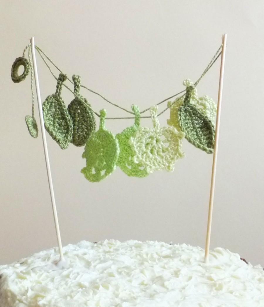 Wedding - Green leaves cake topper - Wedding cake topper - crochet leaves - green leaves garland - autumn wedding cake topper ~15.7 inches (40 cm)