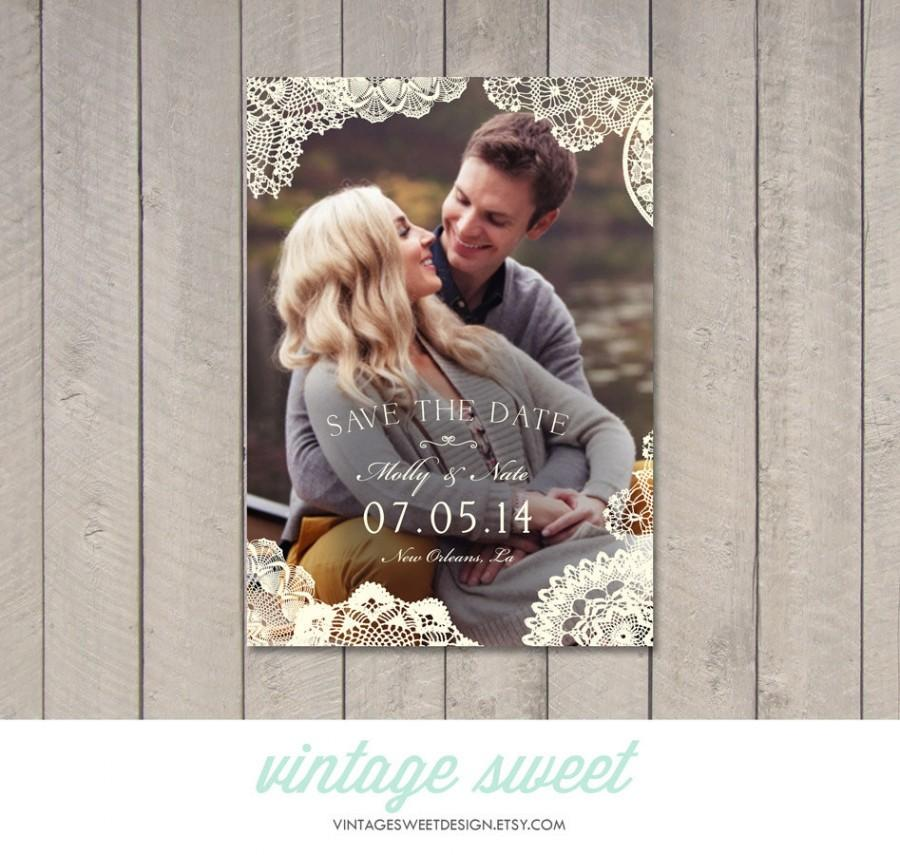 Свадьба - Vintage Lace Save the Date Card / Magnet (Printable) by Vintage Sweet