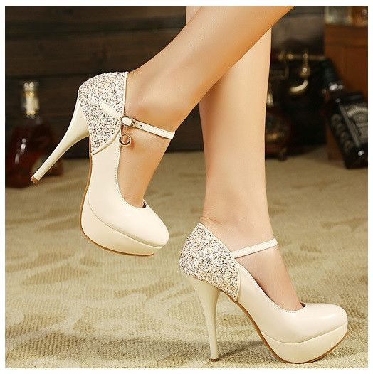 Wedding - Sequined Straps Heel Shoes
