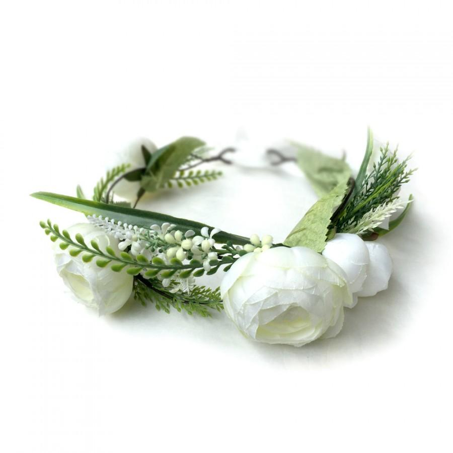 Mariage - Wedding Flower Crown, Boho Flower Crown, Wedding Hair Accessories, Bridal Flower Crown, Ivory Flower Crown, Bridal Headpiece
