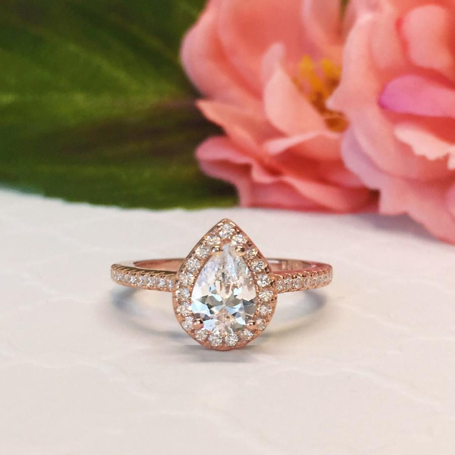Wedding - New! 1 ctw, 3/4 ct Pear Halo Engagement Ring, Classic Halo Ring, Man Made Diamond Simulants, Wedding Ring, Sterling Silver, Rose Gold Plated