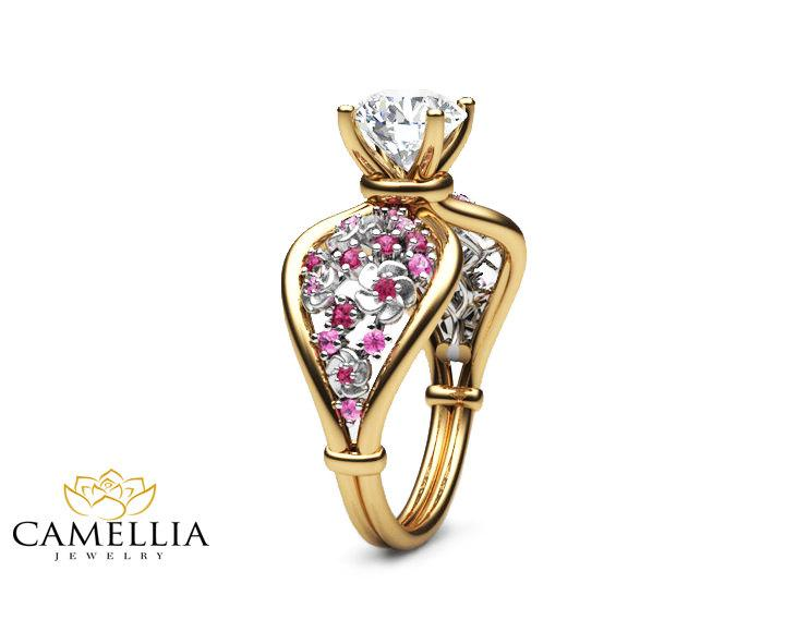 Mariage - 14K Two Tone Gold Moissanite Ring Unique Flower Engagement Ring Moissanite Gemstone Ring