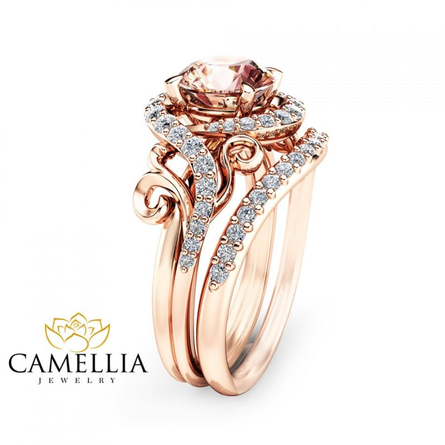 Rose Gold Morganite Engagement Ring Set Unique Rose Gold Morganite Ring With