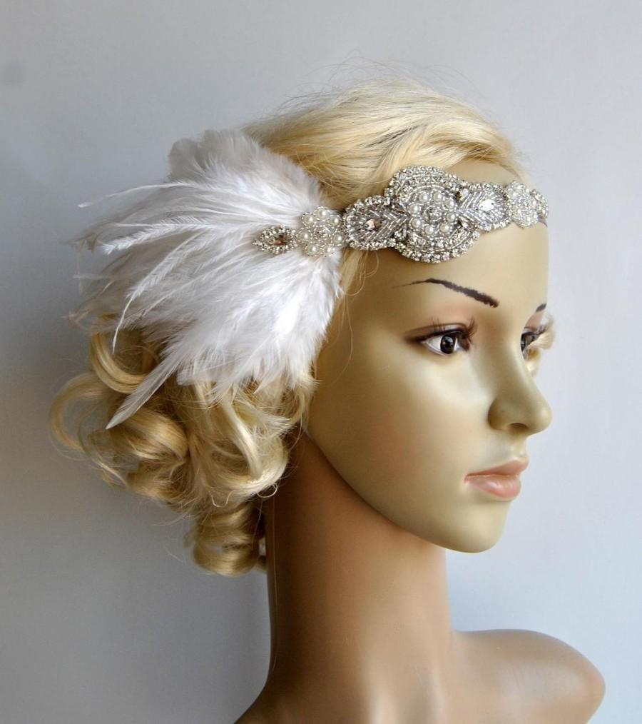 Mariage - Rhinestone flapper Gatsby Wedding Headband, Crystal Headband, Wedding Headpiece, Halo Bridal Headpiece, 1920s Flapper headband