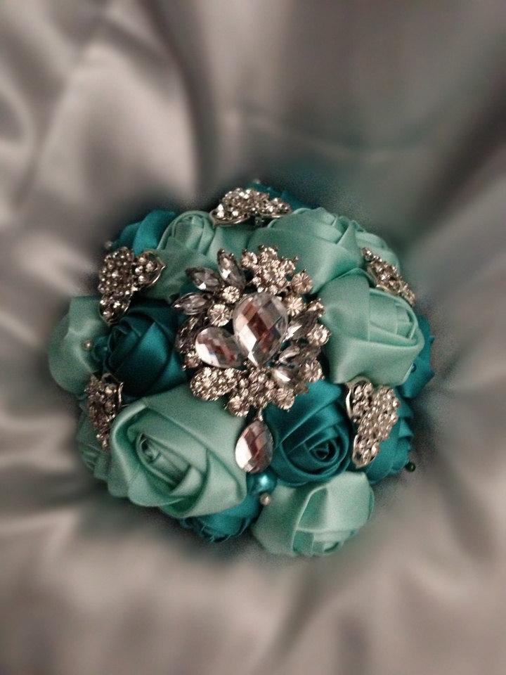 Mariage - Bridesmaid Satin rose & crystal brooch bouquet :design 2