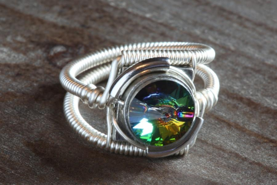 Свадьба - Steampunk Jewelry - Ring - Vitrail Swarovski Crystal