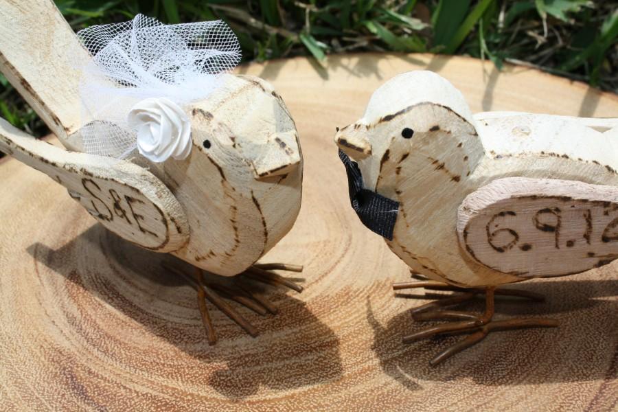 زفاف - Rustic Shabby Chic Love Birds Personalized Custom Cake Topper