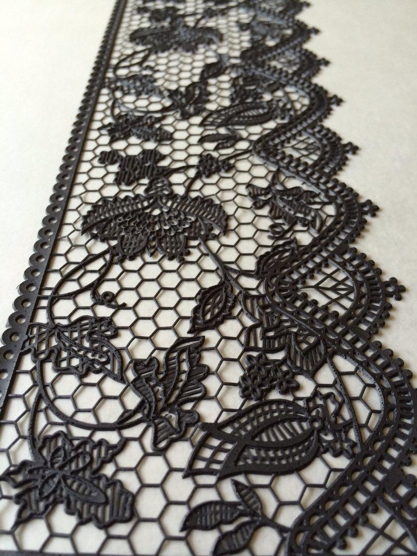 Mariage - Reserve listing!! Edible Lace Black Cake Lace Strips plus overnight shipping