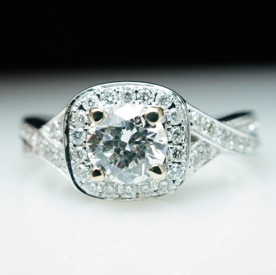 White Gold Diamond Halo Engagement Ring & Wedding Bandplete Bridal Set  14kplete Engagement Set Custom Square Halo Round Brilliant
