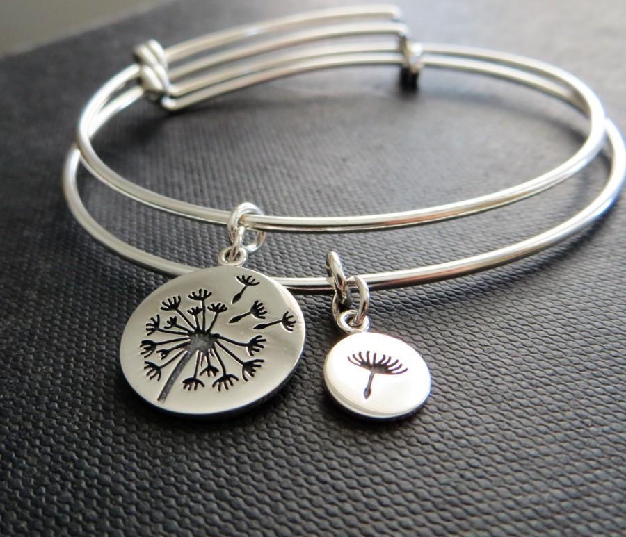 Mother Daughter Bangle Bracelet Dandelion Charm Of The Bride Gift Mothers Day Flower