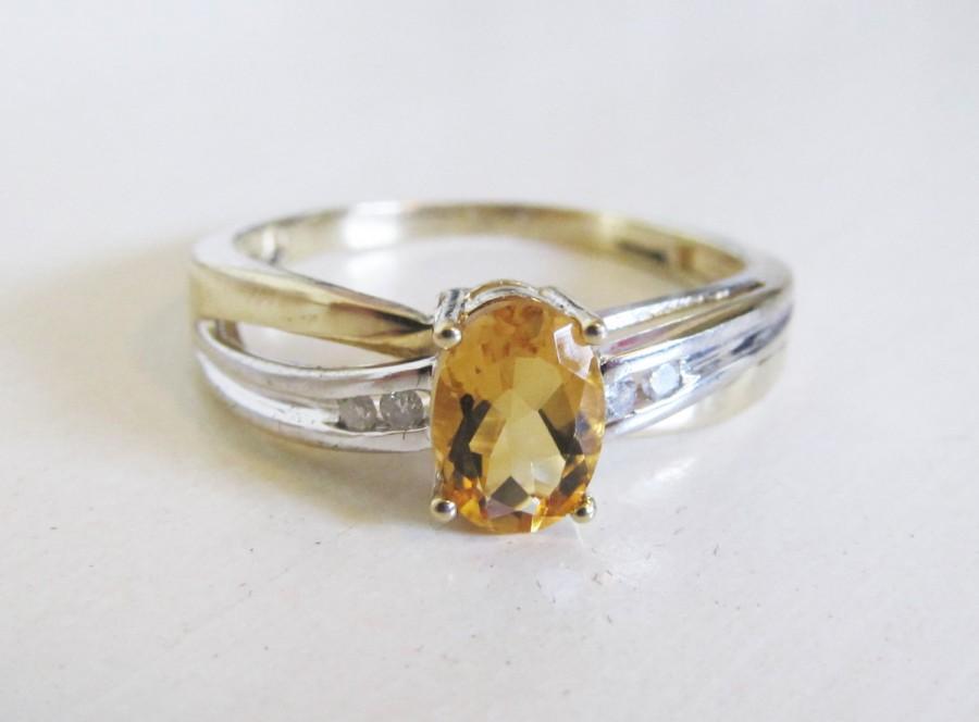 زفاف - Citrine Channel Set Diamond 10k Yellow White Gold Crossover Ring