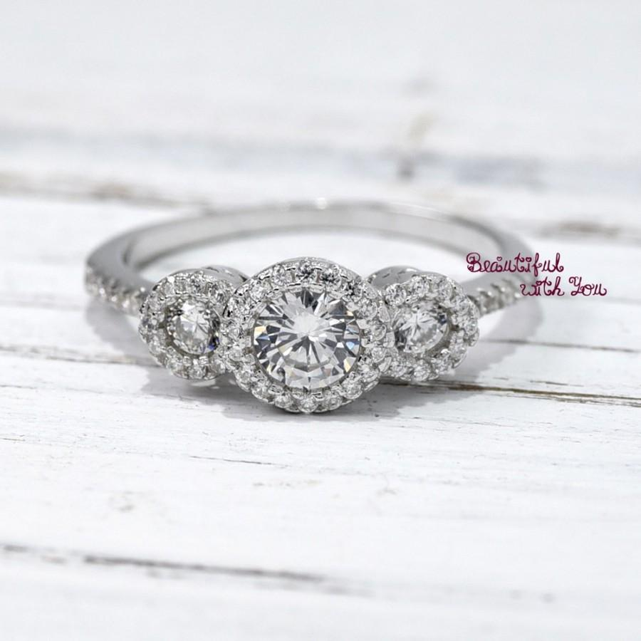 Silver Wedding Ring,Simulated Diamond Three Stone Halo Ring ...