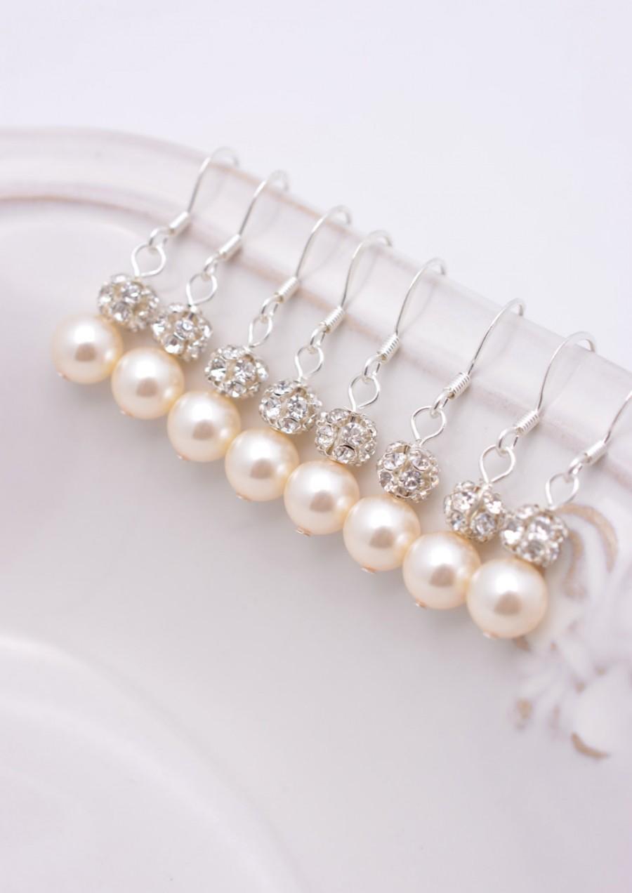زفاف - 7 Pairs Ivory Pearl Bridesmaid Earrings, 7 Pairs Bridesmaid Earrings, Ivory Pearl and Rhinestone Earrings, Cream Pearl Earrings 0111